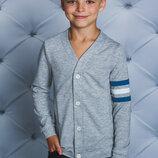 Кофта трикотажная для мальчика светло-серая 122-152