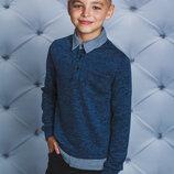 Кофта с рубашечным воротом для мальчика джинс 122-152