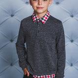 Кофта с рубашечным воротом для мальчика темно-серая 122-152