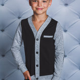 Кофта с латками для мальчика черная 122-152