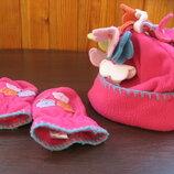 Демисезонные шапка и варежки на 9-12 м-в