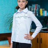 Стильная школьная блуза-рубашка для девочки, блуза для школы
