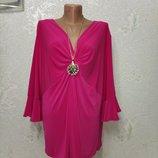Королевский размер Шикарная мягенькая яркая комфортная стрейч блуза р.22 56-58-60 пог 68-100