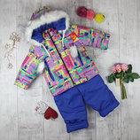 Яркие зимние детские комбинезоны для девочек от 2 до 4 лет.