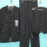 Школьный стильный костюм тройка на мальчика 6-11 лет Черный