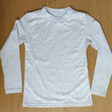 Белая трикотажная школьная блузка для девочки