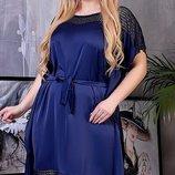 Шелкое летнее платье, большого размера