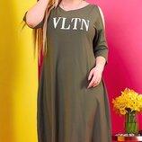 Свободное платье из хлопка, большого размера