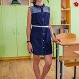 Школьное платье-халат для девочек, платте для школы