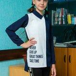 Стильная школьная блуза-рубашка для девочек, блуза для школы