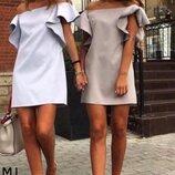 Платье с крылышками на плечах с воланами