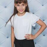 Блуза школьная трикотажная белая 122-152