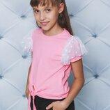 Блуза для девочки трикотажная персик 122-152
