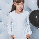 Блузка школьная с длинным рукавом белая 122-152