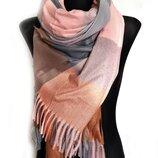 Палантин шарф тёплый пудра в клетку