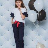 Школьный костюм с брюками для девочки синий 122-152