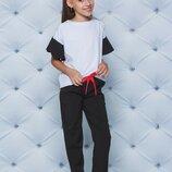 Школьный костюм с брюками для девочки черный 122-152