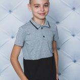 Поло для мальчика с коротким рукавом меланж черный 122-152