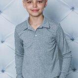 Поло для мальчика с длинным рукавом серое 122-152