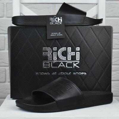 Шлепанцы мужские кожаные Richi Black черные
