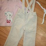 штаны на подтяжках Disney и реглан 2-4г