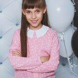 Блуза школьная с длинным рукавом горох персик 122-152