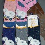 Теплые махровые носки bross 3-5, 5-7, 7-9 лет кролик зайка