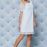 Кружевное короткое платье белое 42-58