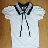Подростковая белая школьная блузка с коротким рукавом