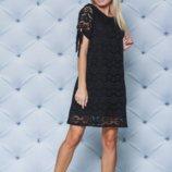 Кружевное короткое платье черное