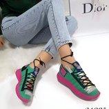 Женские стильные высокие кроссовки текстиль бренд