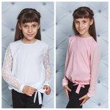 Школа Стильная блузка с длинным рукавом белый, розовый, синий