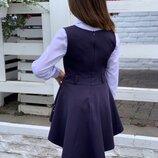 сарафан ткань черная и синяя мадона серая тиар -на баске перфорация