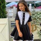 платье Ткань мадонна чёрная и синяя Жабо х/б качественное Кружево Сзади змейка