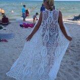 Кружевной хлопковый кардиган накидка пляжная туника ажурная гипюровая макси длинная