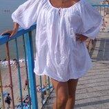 Белоснежное платье туника хлопковая хлопок в стиле бохо