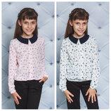 Школа Блуза для девочки с принтом Эйфелева башня и нотки