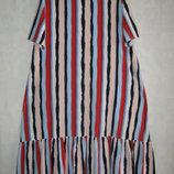 Платье летнее свободное в полоску, размер единый 50-52