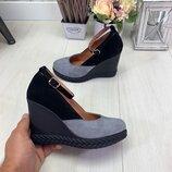 Красивенные туфли с пряжкой, натуральный замш и кожа, 36-40