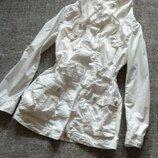 Белая длинная куртка -парка на х/б подкладке размер 14-xl