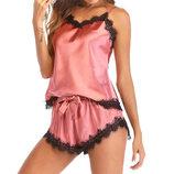 Пижама женская розовая с кружевными вставками