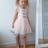 Платье нарядное для девочки 3-4-5 лет Бежевое светлое