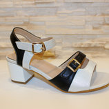 Черно-Белые босоножки на устойчивом каблуке