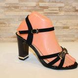 Черные замшевые босоножки с бантиком на высоком устойчивом каблуке