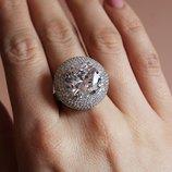 жіноче срібне кольцо з камінчиками фіанітами женское серебряное кольцо с цирконом