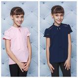 школа Блуза школьная с коротким рукавом белый,синий, розовый