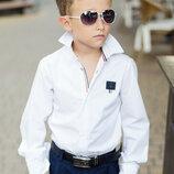 Рубашка в школу для мальчика школьная форма белая хлопок 100 рост 116-152 см