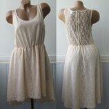 Платье гипюровое с шифоном, юбка - шлейф, хвост. H&M