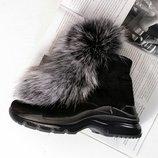 Ботинки зимние с чернобуркой мех не съемный