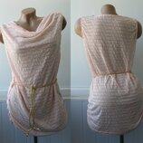 Пляжное платье с поясом плетенка, перфорация. Есть брак